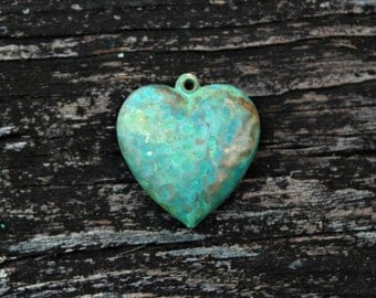 Hand Patina Heart Pendant, Turquoise Heart Charm, Brass Findings, 2pcs
