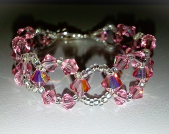 Pink Swarovski Crystal Sparkle Beadwork Bracelet, Sterling Silver Toggle Clasp. Light Rose AB Swarovski, lead free wire
