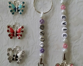 Butterfly bag charm, keyring, small enamel butterfly, silver or white letter beads personalised great gift idea