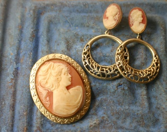 Cameo Brooch and Earrings.  Antique Reproductions. Victorian Style Jewelry. Cameo Set. Formal Jewelry.