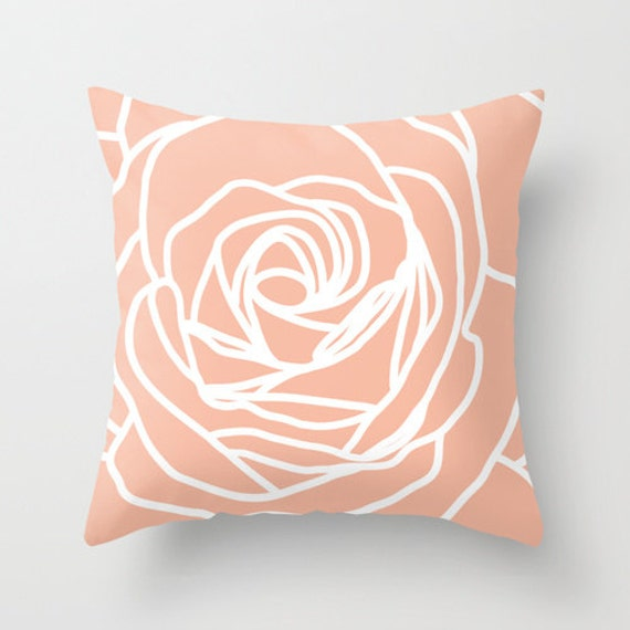 Rose Pillow Cover Modern Flower Peach Pastel Home Decor