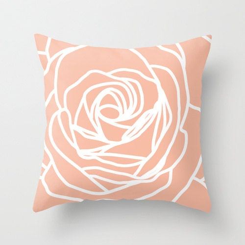 Modern Pillow Covers Etsy : Rose Pillow Cover Modern Flower Peach Pastel Home Decor