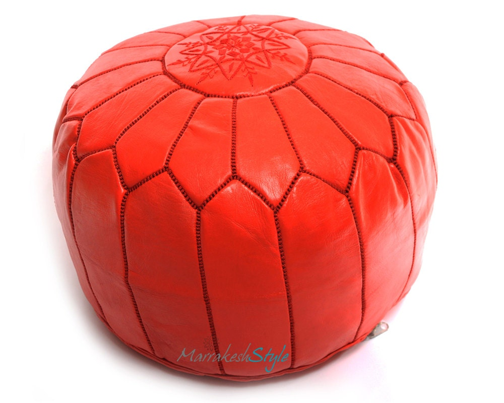 Moroccan Pouf Red Leather PoufRound Ottoman Foot by ...
