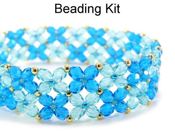 items similar to beaded kit bracelet aqua blue gold bead