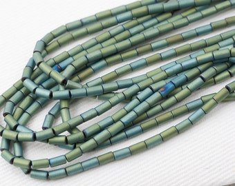 "Coated Pyrite tube beads green mossy metallic small spacer natural gemstone 8"" strand"