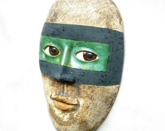 "The ""Success"" - Ceramic Wall Mask Sculpture, One Of A Kind Clay Face"