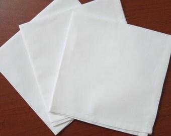 "100 white cotton women's handkerchiefs, 11""x11"""