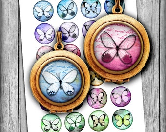 Butterfly - Digital Collage Sheet Circle Images 1 inch and 1.5 inch for Pendants, Bottle caps Printable Images Instant Download