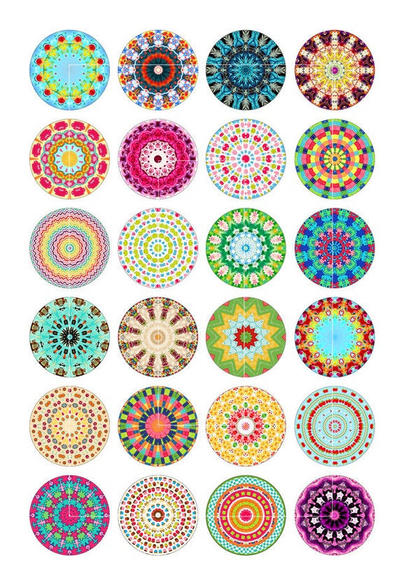 Kaleidoscope designs digital collage sheet 1 25mm 1 5 for Cool bottle cap designs