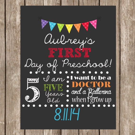 SALE order Early First Day School Sign Digital file