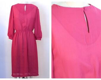 1960s/70s Raspberry Secretary Dress Size M