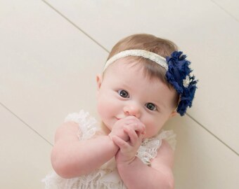 Navy Blue Shabby Flower & Ivory Lace Headband, Baby Headband, Toddler Headband, Girls Headband