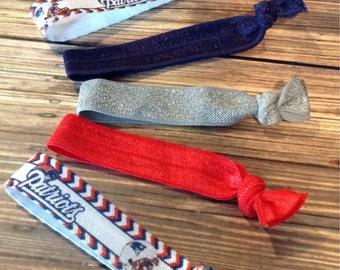 BOGO 50% OFF! New England Patriots-inspired Hair Ties, Women's Hair Ties, Football Hair ties, Set of Five