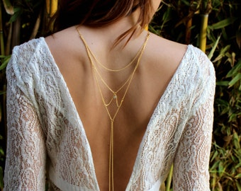 Moon & Stars - Back Necklace (BN-01G) Gold