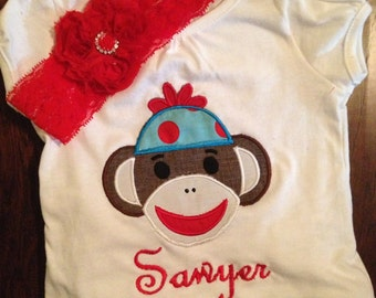 Little girls custom made sock monkey birthday shirt only, pants and headband sold separately.