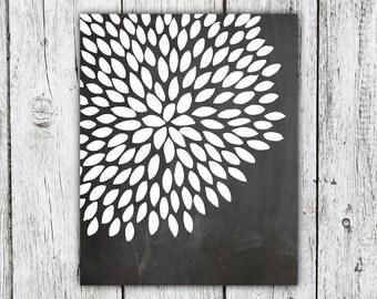 Chalkboard Dahlia Art Print, dahlia print, chalkboard print, Spring print, flower art print, black dahlia flower 8x10 print chalkboard print