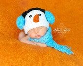 Baby Earmuffs Snowman Hat and Scarf Set, Made to Order