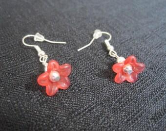 Red Spring Flower Earrings