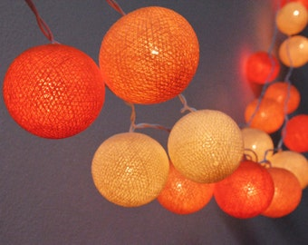 35 Bulbs Cotton Ball String Lights Orange tone for Party Wedding and Decorations