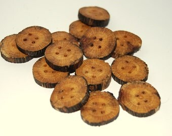 14 rustic buttons of spalted wood 3/4 - 1  inch wide  #1