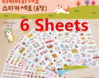 6 Sheets, Cute kitty Sticker, Deco Sticker, Korean Sticker, Cute Sticker, Scrapbook, Cat Sticker