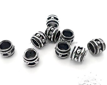 1pcs 925 Sterling Silver Bead, Oxidized, Top Quality, Antique Silver Color, Beautiful Silver Beads, code7710, Size 9x7mm, Hole 6mm