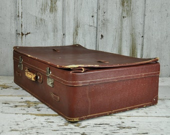 Large Brown Leather Bellow Suitcase - Please convo us for shipping a quote!