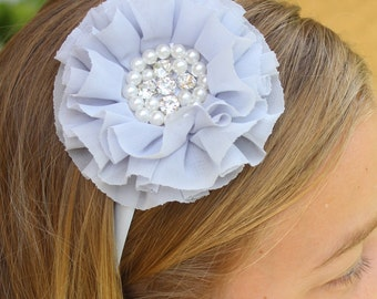 Gray headband plastic headband flower girl headband satin hard headband toddler headbands Girl headband grey wedding headband