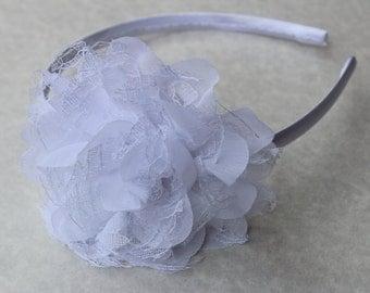 White girls headband, satin flower headband, white flower girl headbands, plastic headband, vintage headband, white hair accessory girls