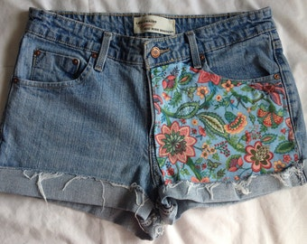Womens Customizable Vintage Looking Recycled Upcycled Shorts Size 10