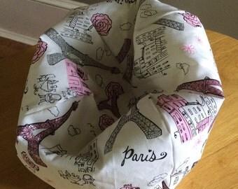 """18"""" Doll,American Doll Bean Bag Chair,Furniture  (PARIS, white, pink, silver,black design)"""