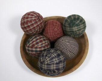 "6 Primitive Country 3"" Homespun Fabric Rag Balls Ragballs Navy, Green, Burgundy Ball Jar Bowl Basket Filler"