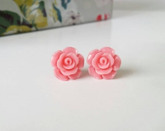 Pink studs, pink rose studs, pink rose earrings, hot pink earrings, pink stud earrings, pink earrings, flower girl gift, gold posts