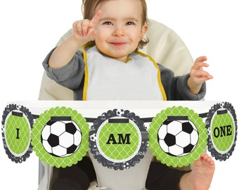 GOAAAL! Soccer - 1st Birthday - I Am One - First Birthday High Chair Banner - First Birthday Party Decorations