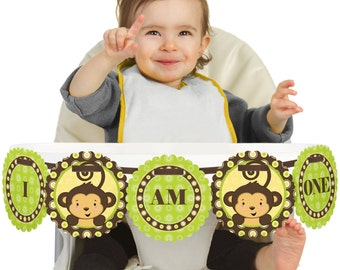Monkey High Chair Banner - First Birthday Party Decorations
