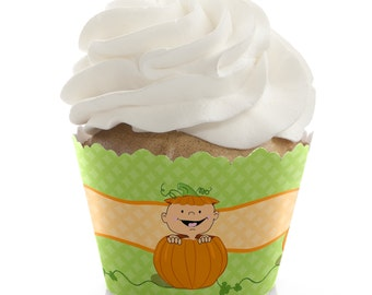 Little Pumpkin - Caucasian Cupcake Wrappers - Baby Shower Cupcake Decorations - Birthday Party Cupcake Supplies - 12 Cupcake Liners