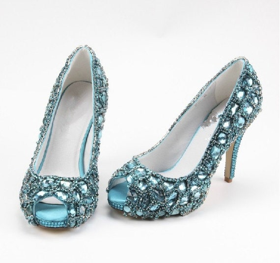 blue wedding shoes bling prom shoes blue by