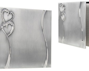 Wedding Guest Book Two Tone Brushed/Shiny Silver Finish Hearts Guest Book