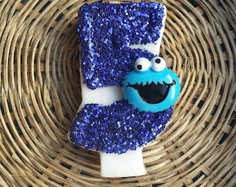 Cookie monster blue glitter birthday number candle, comes in any number you like