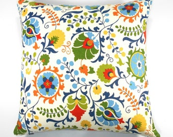 Free shipping/MULTICOLOR FLORAL PILLOW  Cover 18x 18 inches - Home Decor fabric-Cotton duck-Throw pillow-Decorative pillow-Handmade -Cotton