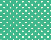 Aunt Grace's Dots- Marcus Fabrics- Teal with White Dots- R35-5363-0379- 1 Yard Fabric