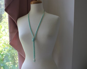 Art Deco Turquoise and White Glass Seed Beaded Flapper Necklace