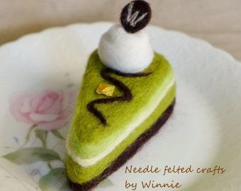 Needle felted Green tea chocolate handmade slice cake