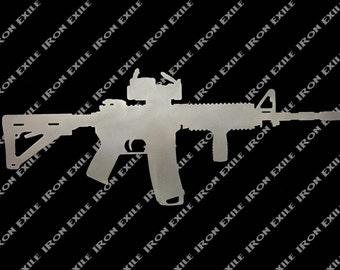 AR15 M16 Tactical Police Military Gun Silhouette Metal Wall Sign Cut Out