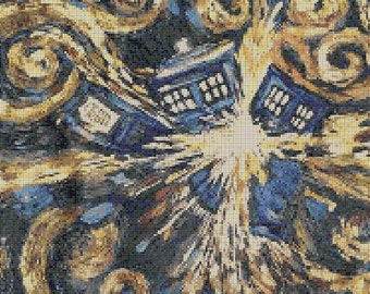 Counted Cross Stitch Pattern, Doctor Who Exploding Tardis, Instant Download, PDF Pattern