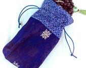 Dark Blue Mala Bag Drawstring Pouch