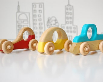 Wood Toy Car Set - Set of 3 wooden eco friendly toy cars - Wood Race car, Wood truck, wood city car