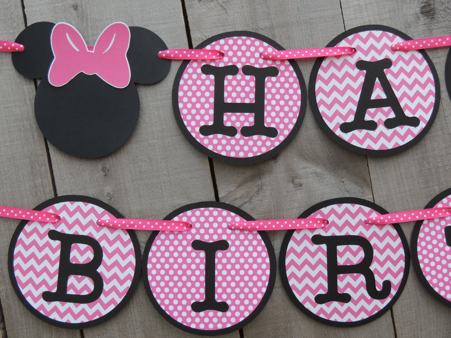 Chevron and polka dot Minnie Mouse birthday banner. Hot pink