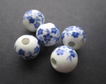 Ceramic Beads Simply  Plum Blossom Blue and White 8mm 10mm 12mm 10Pieces JC056