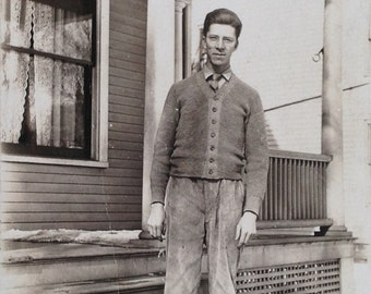 Contemplative Working Man at Home // Antique photo Great Depression Era 30s man // Real photo postcard, striking vernacular photography